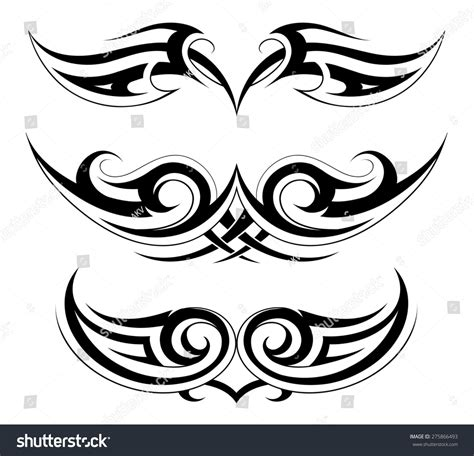 chest tattoo vector body ornament chest and back tattoo set in gothic style