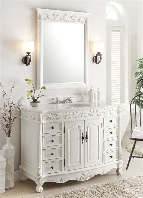 antique white bathroom mirror 48 quot benton collection antique white florence vanity
