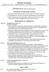 professional resume sles for engineers resume for a software sales engineer susan ireland resumes
