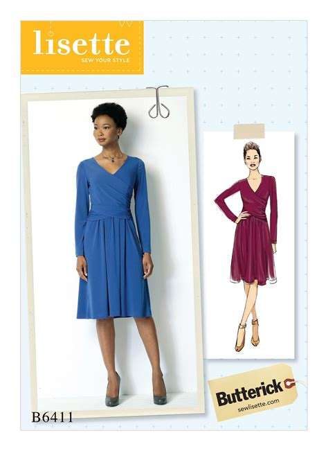 dress pattern ruching butterick 6411 misses ruched surplice dress
