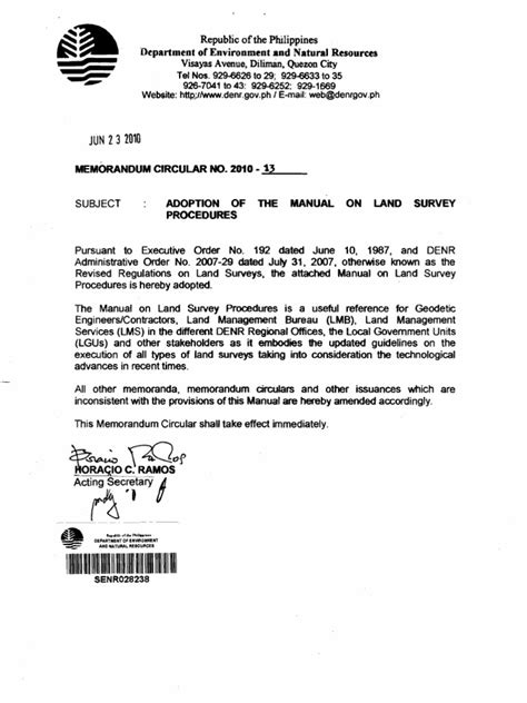 Request Letter Cutting Of Trees Denr Memo Circ 2010 13 Manual Of Land Survey Procedures