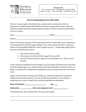 Proof Of Dependency Letter editable proof of child care expenses letter fill print forms in word pdf