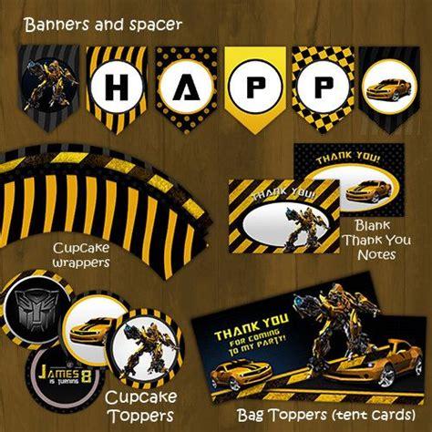Cupcake Toppers Karakter Tema Bumblebee Transformers bumblebee transformers printable birthday package bumble bee complete birthday set
