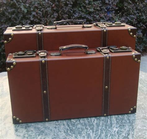 Koper Vintage Wood Retro Style Luggage Suitcase Bag Large Olb2252 vintage style wooden brief magic accessories leather suitcase trunk