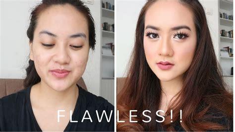 tutorial makeup flawless indonesia bikin makeup flawless di muka berjerawat flawless mauve