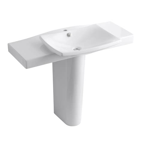 Kohler White Pedestal Sink Shop Kohler Escale 34 In H White Clay Pedestal Sink