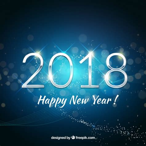 new blue color happy new year background 2018 in blue tones vector free