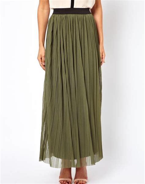 connection maxi skirt in khaki lyst