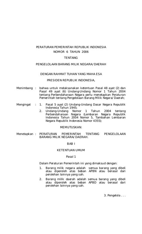 peraturan pemerintah no 6 tahun 2006 tentang pengelolaan barang milik