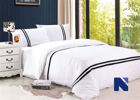 european hotel bedding set black and white stripes cotton