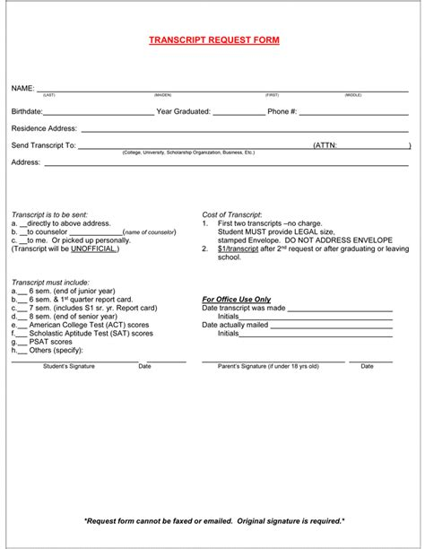 official transcript template how to write a high school transcript request letter