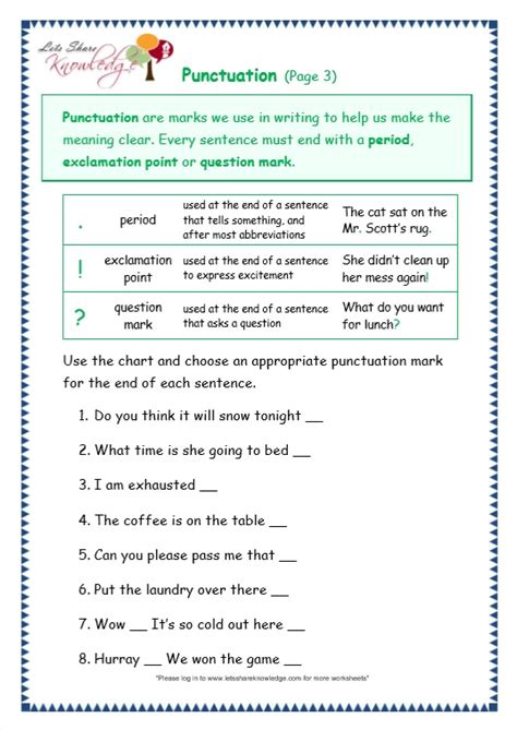 punctuation worksheets grade 4 with answers grade 3 grammar topic 30 punctuation worksheets lets knowledge