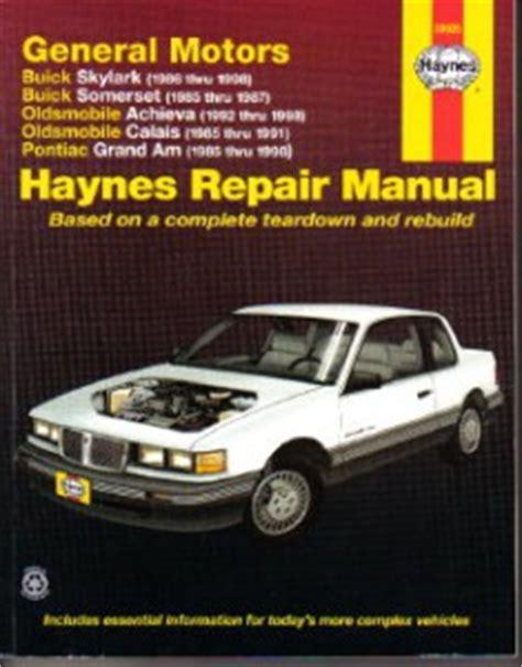 free auto repair manuals 1998 oldsmobile achieva electronic toll collection haynes gm buick skylark somerset oldsmobile achieva calais pontiac grand am 1985 1998 auto