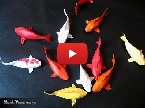 simple koi fish origami of colorful fish