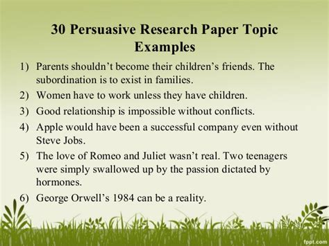 topics for a research paper persuasive research paper topics