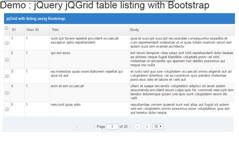 javascript query tutorial jqgrid exle with demo using bootstrap and jquery ui