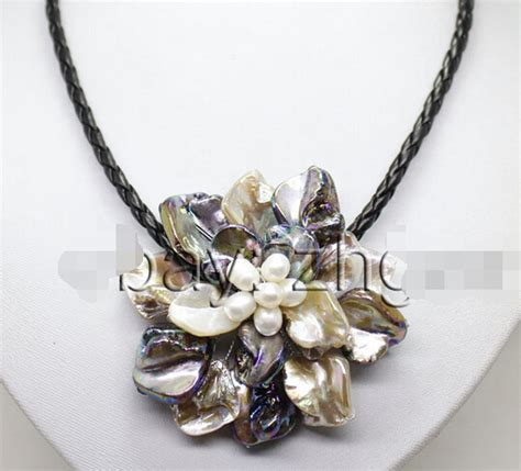 Pearl White Color Necklace white color shell mop white pearl flower pendant necklace handwork weave 18 quot aaa style