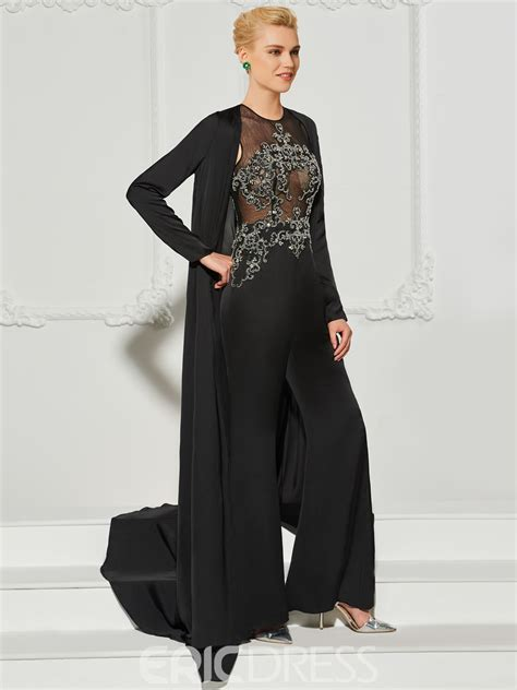ericdress   long sleeve beaded prom jumpsuit