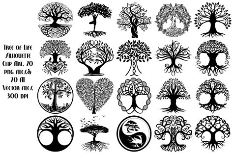 eps clipart tree of silhouette ai eps png illustrations