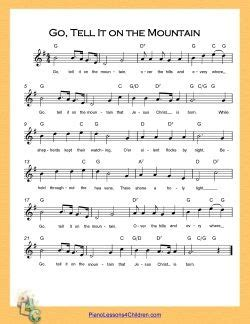 printable lyrics go tell it on the mountain 34 best children s church songs images on pinterest