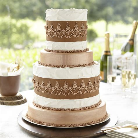 How To Decorate A Tiered Cake by Metallic Bronze Tiered Cake Wilton