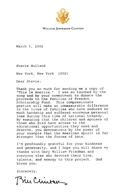 Clinton Resignation Letter by Letter To Stevie From Bill Clinton