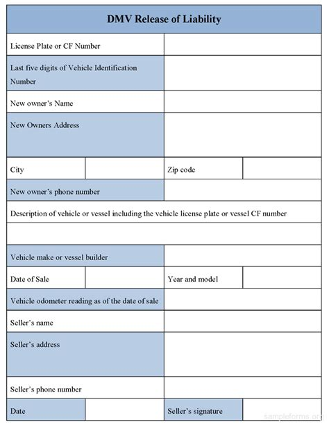 dmv release of liability form sle forms