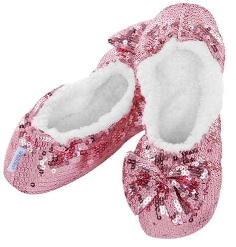 pink slippers bling sequin snoozies slippers silver black blue