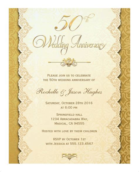 50th wedding anniversary card templates anniversary card template 10 free sle exle