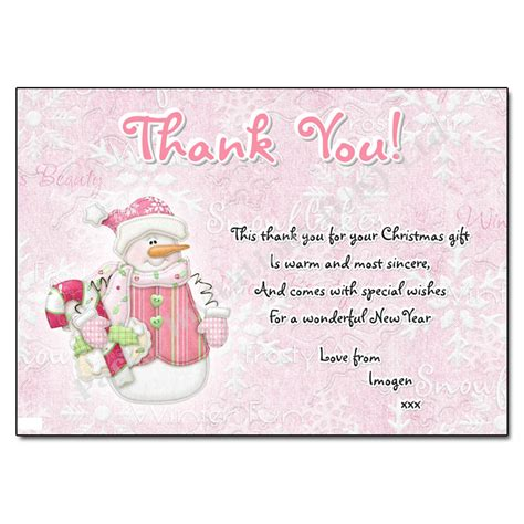 snowgirl christmas thank you note