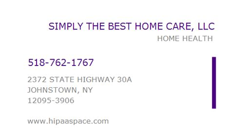 1548563158 npi number simply the best home care llc