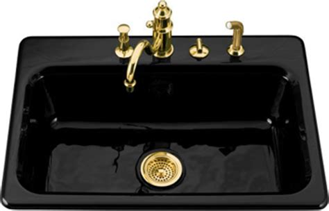 black cast iron kitchen sink kohler k 5832 4 7 bakersfield cast iron self