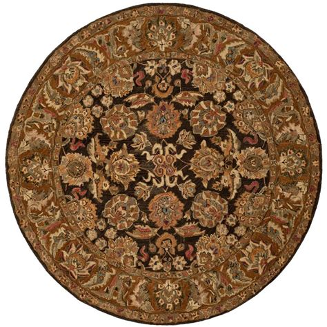 Safavieh Anatolia Dark Brown Gold 8 Ft X 8 Ft Round Area 8 Foot Area Rugs