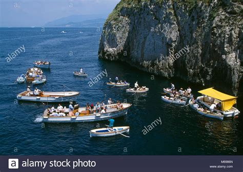 boats europe boats in front of der blue grotto capri island italy