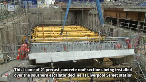 liverpool station roof crossrail shorts precast concrete roof sections installed