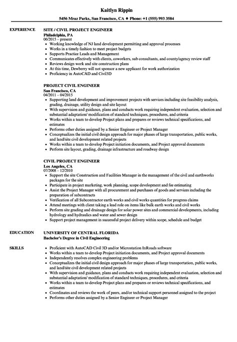 resume format for project engineer civil project engineer resume sles velvet