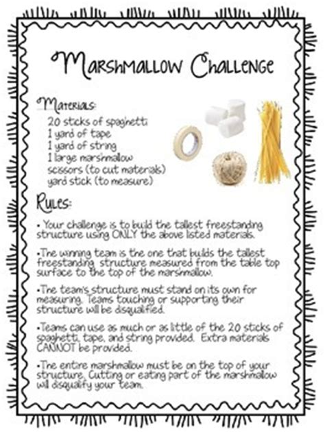 marshmallow challenge instructions marshmallow challenge handout by a learning affair