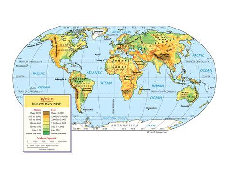elevation map of the world world elevation