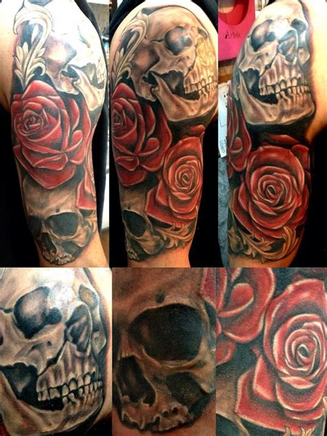 sleeve tattoo skulls and roses skull and roses sleeve best home decorating ideas
