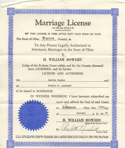 Marriage License Records Ohio
