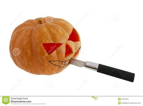 knife pumpkin pattern halloween jack o lantern carving with knife royalty free