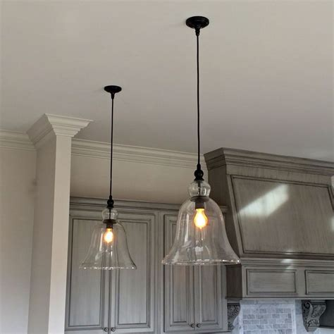 hanging lights in kitchen above kitchen counter large glass bell hanging pendant