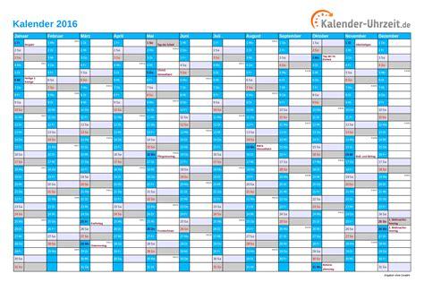 Kalender 2016 Jahresplaner Jahreskalender Zum Ausdrucken Kostenlos 2016 Calendar
