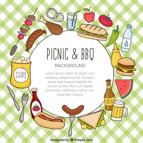 picnic images food for picnic and barbecue background vector