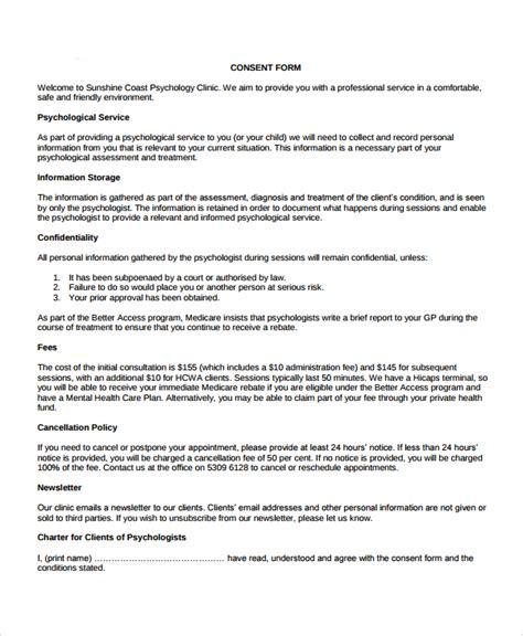Letter Of Consent Research Study Sle Psychology Consent Form 7 Free Documents In Pdf Word