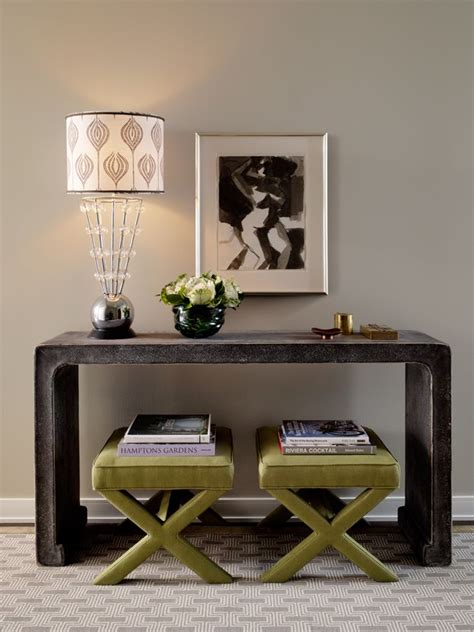Entryway Table With Stools Underneath by I Never Tire Of The Console Table With Benches Tucked