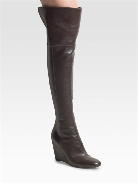 wedge knee boots sergio the knee wedge boots in brown lyst