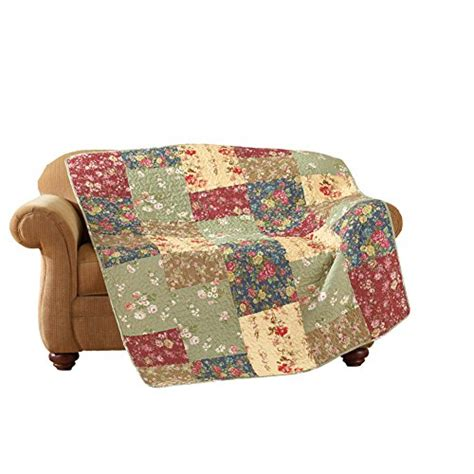 Quilted Patchwork Throw - reversible floral patchwork quilted throw bedroom store