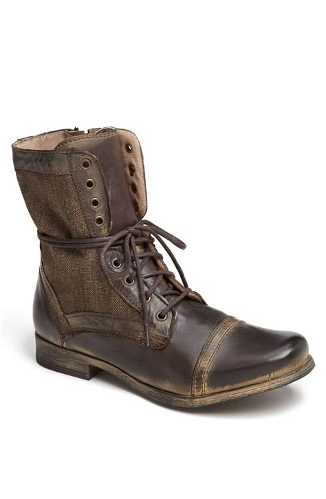 steve madden trackker cap toe boot in brown for brown