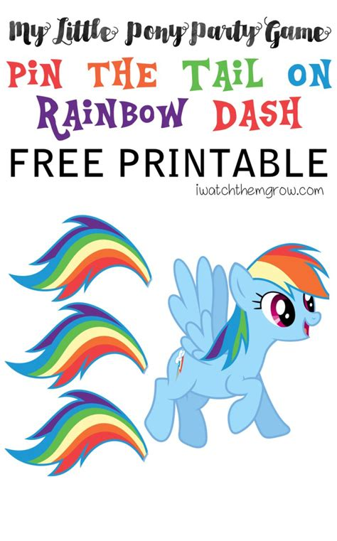 printable version of pin the tail on the donkey pin the tail on rainbow dash free printable pony party